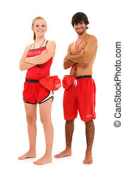 Boy and Girl Teenager Lifeguards in Uniform with clipping...