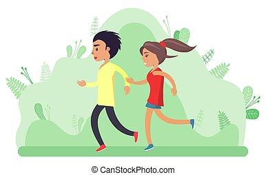 Boy and Girl, Teenagers Jogging People Vector