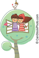 Boy and Girl through window
