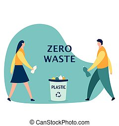 Boy and girl, throw plastic bottles in trash, garbage recycling concept, cartoon vector illustration isolated on white background. teenagers with plastic bottles, garbage collection