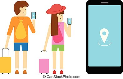 Boy and girl traveller use mobile app, vector art