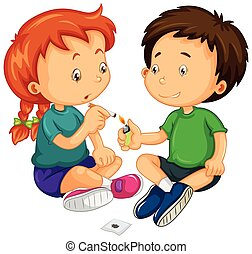 Boy and girl trying to smoke illustration