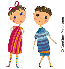Boy and Girl - Vector illustration from handdrawn artwork. ...