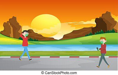 boy and girl walking on river side road in the evening