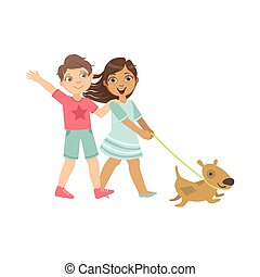 Boy And Girl Walking The Dog Together Bright Color Cartoon...