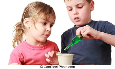 boy and girl watered plants seeds of nutrient solution in pot with soil