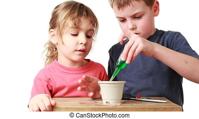 boy and girl watered plants seeds of nutrient solution in pot with soil on table