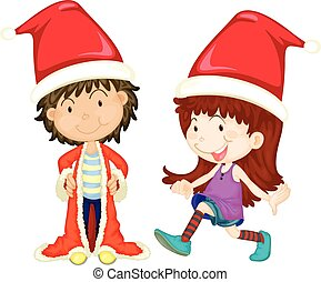 Boy and girl wearing santa outfit