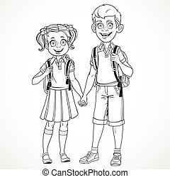 Boy and girl with a school bag holding hands line drawing isolated on a white background