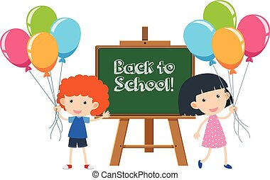 Boy and girl with back to school sign