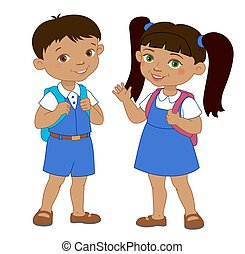 Boy and girl with backpacks pupil stay cartoon school...