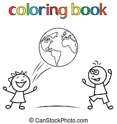 Boy and girl with ball as a globe for coloring book