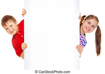 Boy and girl with blank advertising board