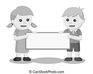 Boy and girl with blank board