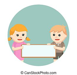 boy and girl with blank board in circle background
