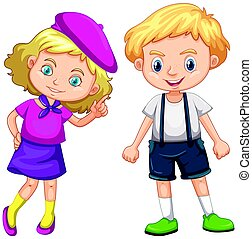 Boy and girl with blond hair
