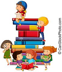 Boy and girl with books