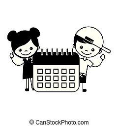 boy and girl with calendar school