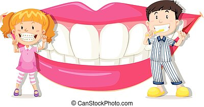 Boy and girl with clean teeth