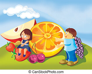 Boy and girl with fruits in a park