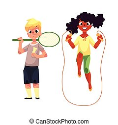 Boy and girl with jumping rope, badminton racket at playground