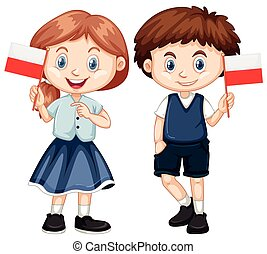 Boy and girl with Poland flag