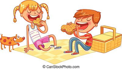 Boy and girl with puppy eating sandwiches on picnic
