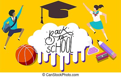Boy and girl with school components on abstract background