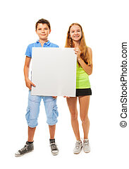 Boy and girl with sign