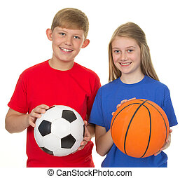 Boy and girl with sports balls