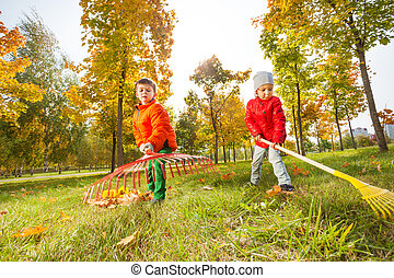 Boy and girl with two rakes working together