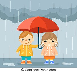 Boy and girl with umbrella standing under rain