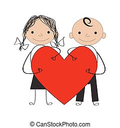 boy and girl with valentine heart
