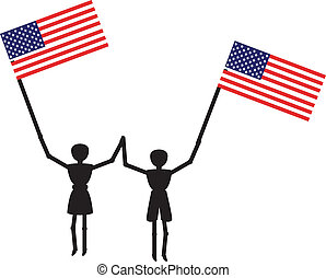 boy and girl withamerican flag