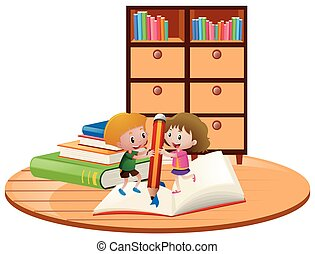 Boy and girl writing on big notebook