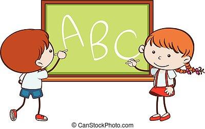 Boy and girl writing on chalkboard