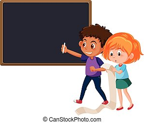 Boy and girl writing the chalkboard