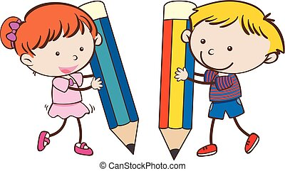 Boy and girl writing with big pencils