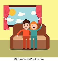 boy and girl yawning with sleep sitting on the sofa