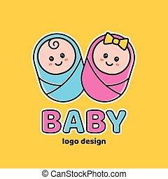 Boy and girl.Baby shower,Newborn logo design template....