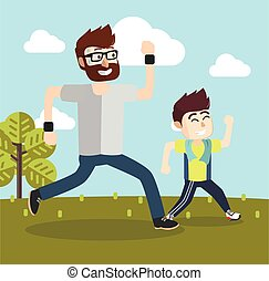 boy and his dad jogging together