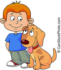 Boy and his dog - Vector illustration of a boy and his dog