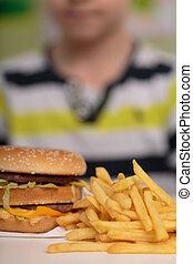 Boy and junk food