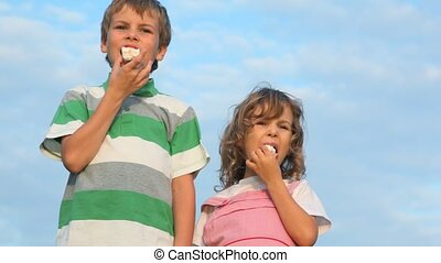boy and little girl eating cakes