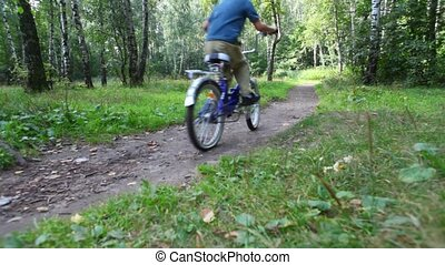 boy and man rides bicycles on pathway in forest