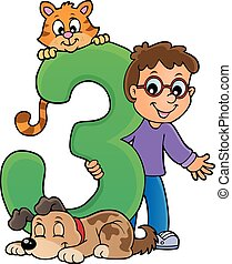 Boy and pets with number three