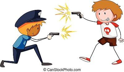 Boy and policeman shooting firegun