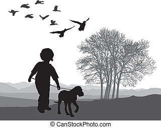 Boy and puppy - vector illustration boy and puppy in autumn...