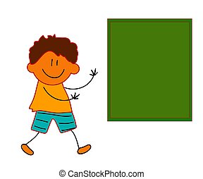 Boy and school board on a white background. Cartoon. Vector