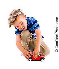 Boy and toy car
